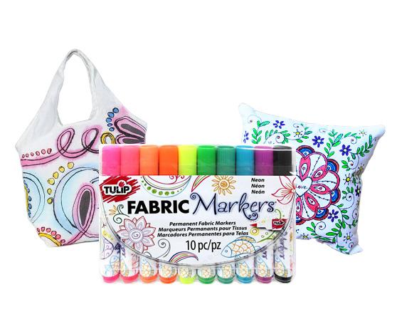 TULIP 10 Pcs Colour Block Permanent Fabric Markers