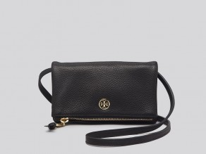aa7e1191d9a TORY BURCH Robinson Mini Fold-Over Crossbody BLACK