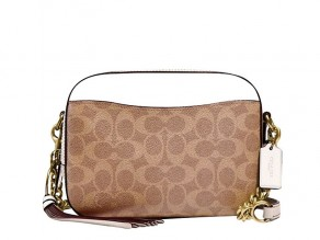 b9993a182b3d COACH Signature Coated Canvas Camera Bag TAN-CHALK