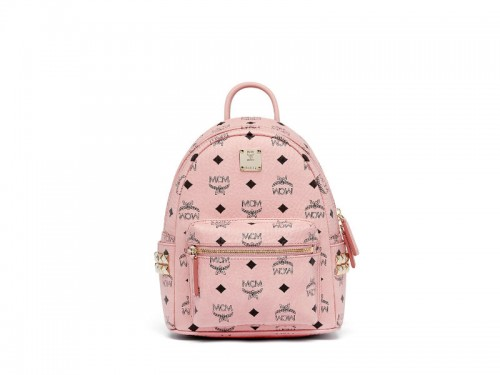 cdbce7287 4831 MCM Mini Stark Backpack In Side Studded Visetos SOFT PINK