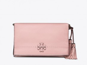 0c674e1d79df TORY BURCH McGraw Fold Over Crossbody Bag PINK QUARTZ