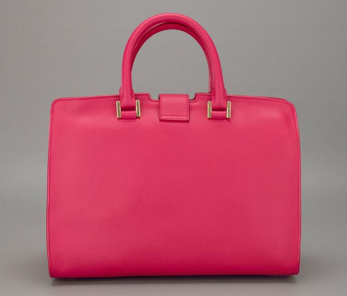 20f855a572 3950 Medium Cabas Y Leather Tote Pink Fuchsia