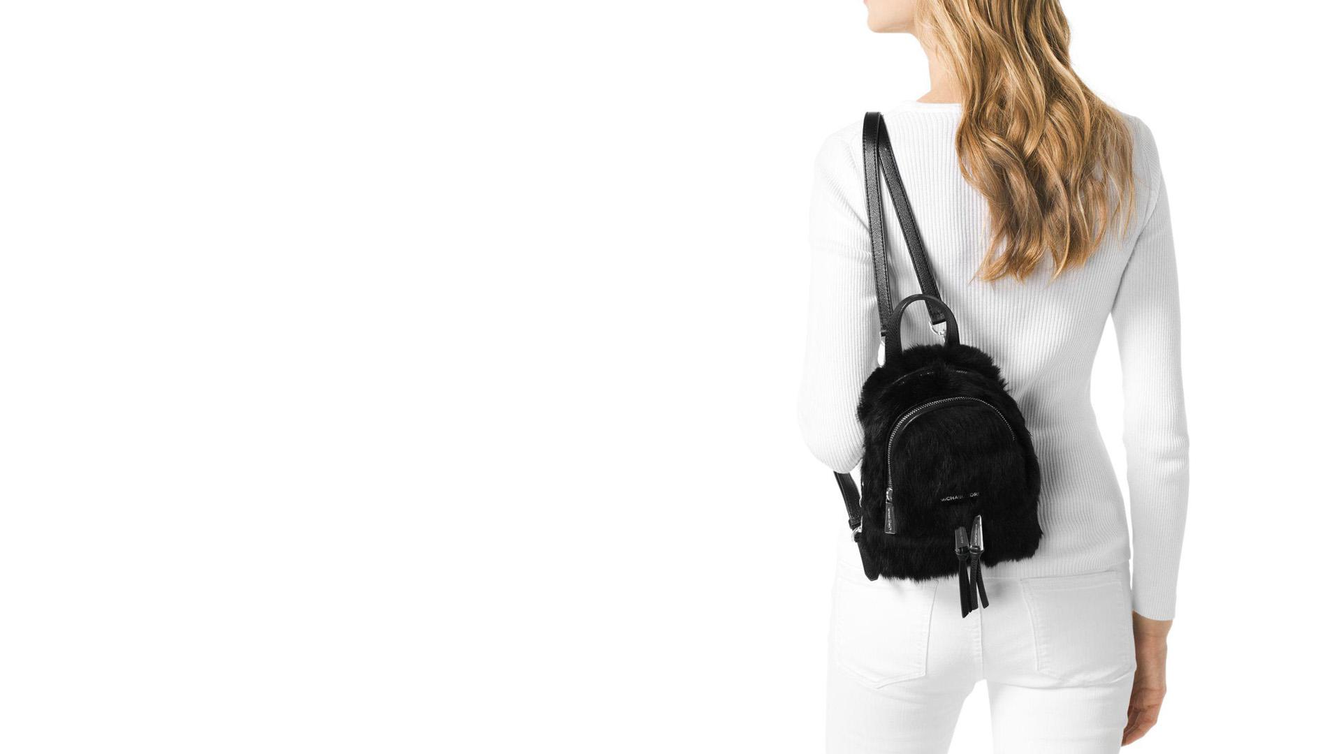 Rhea Extra-Small Shearling Sheep Fur Messenger Backpack