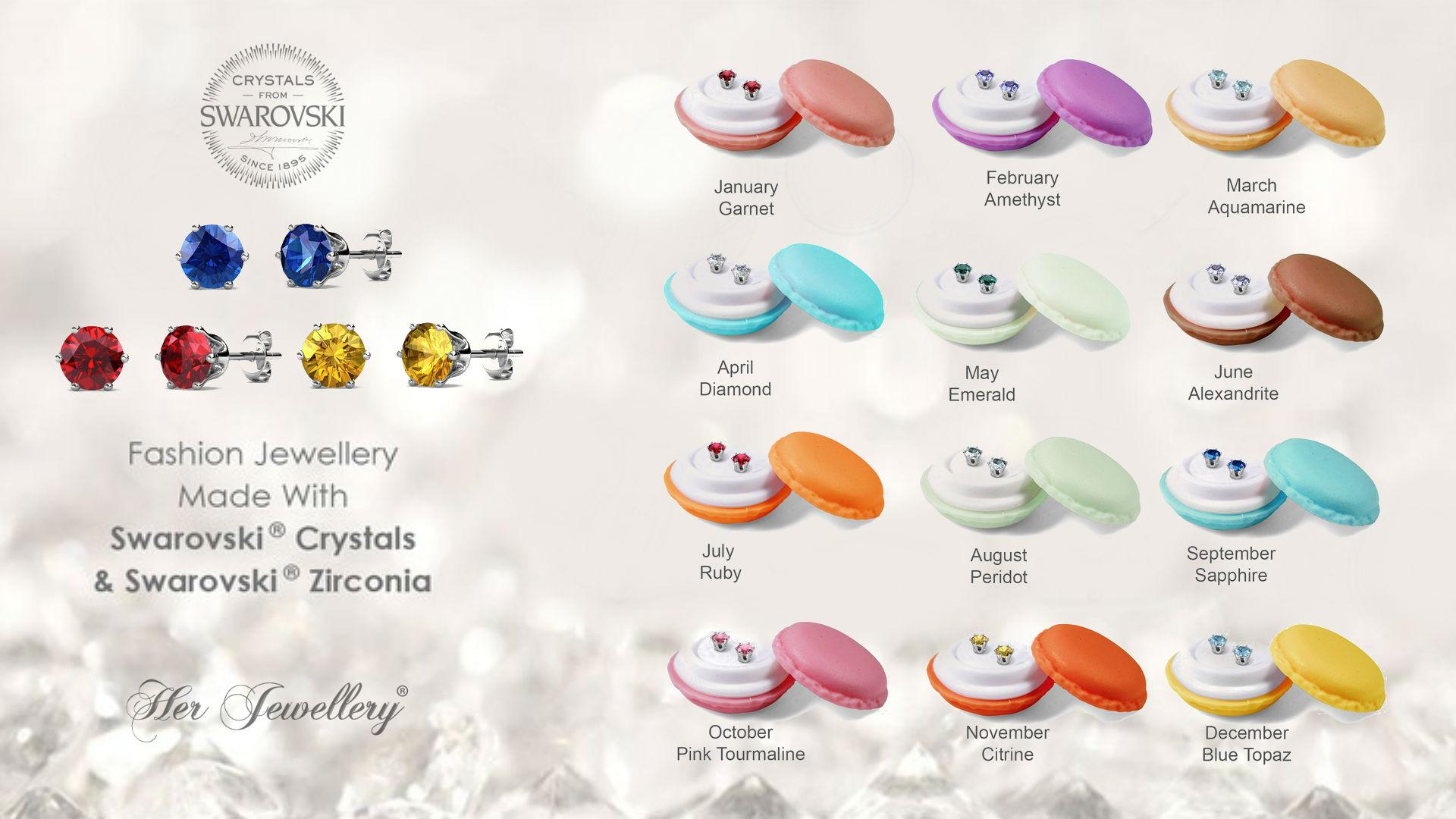 18K Swarovski Crystal Personal Birthstone Earrings