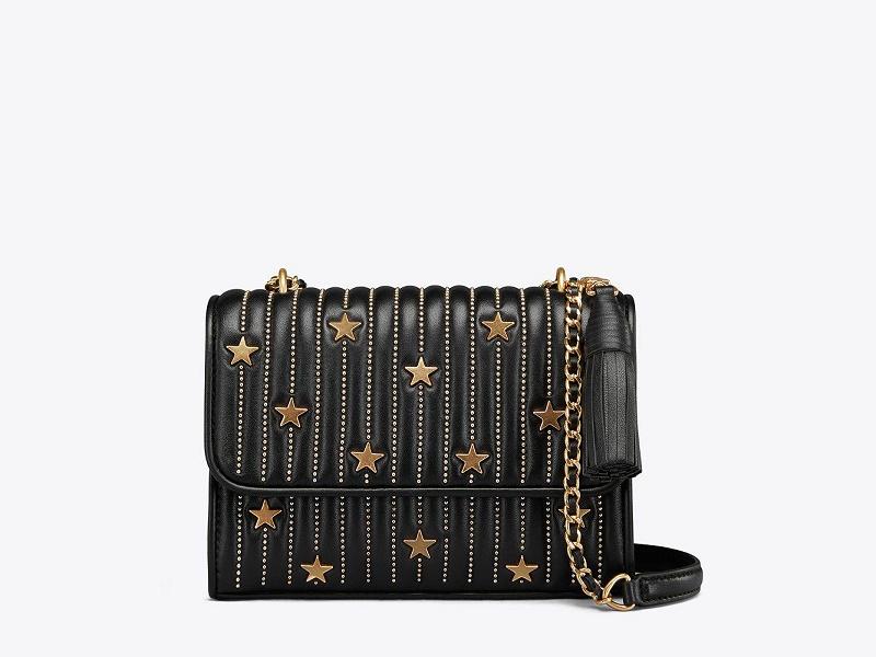 2fd79daee557 9419 TORY BURCH Fleming Star Stud Small Convertible Shoulder Bag BLACK