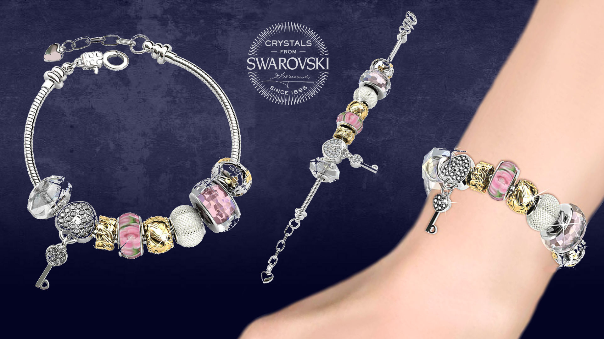 18K Princess Charm Swarovski Element Bracelet