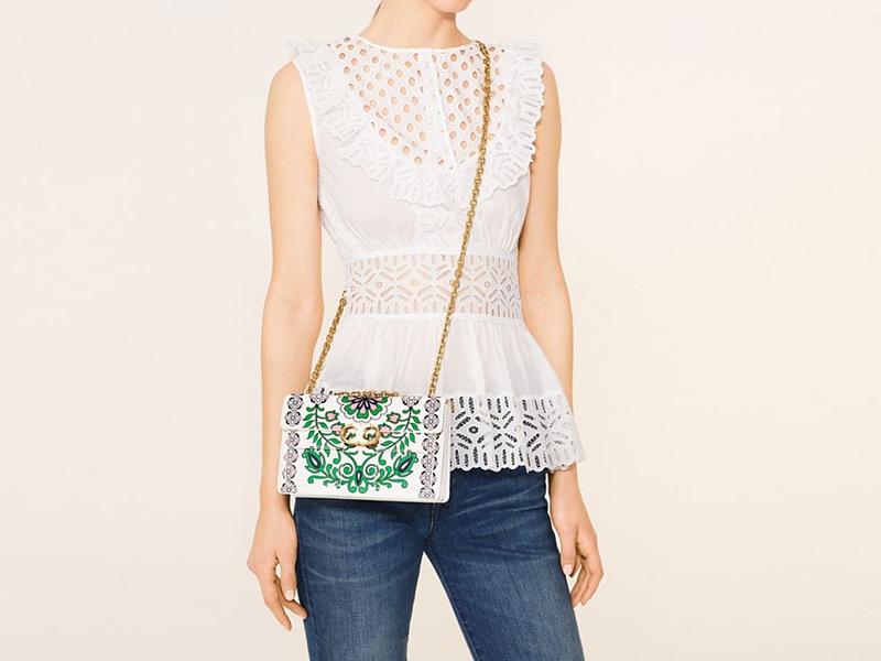 e525617ef31 6992 TORY BURCH Gemini Link Chain Shoulder Bag GARDEN PRINT