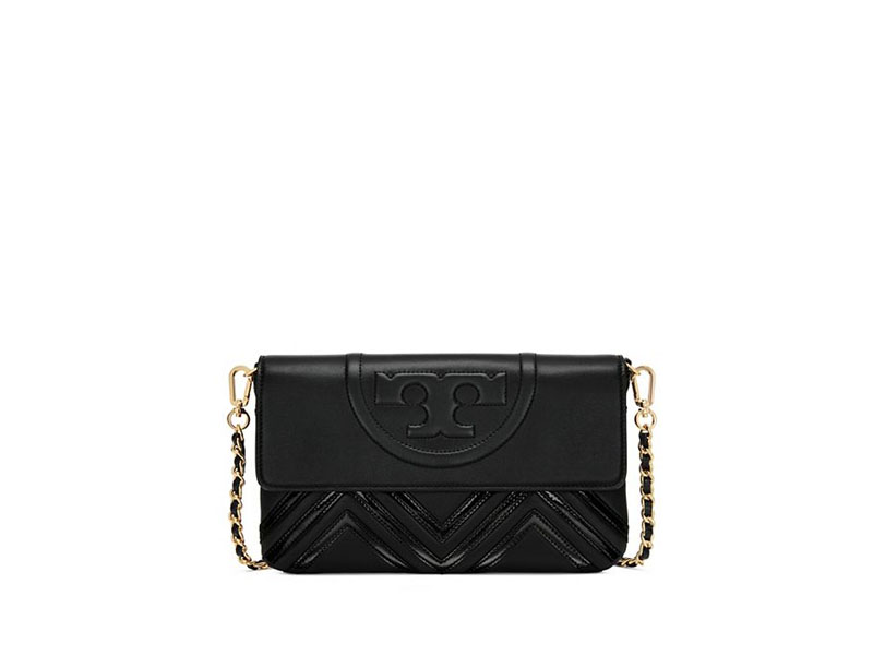 05432338206c 7018 TORY BURCH Fleming Geo Clutch BLACK